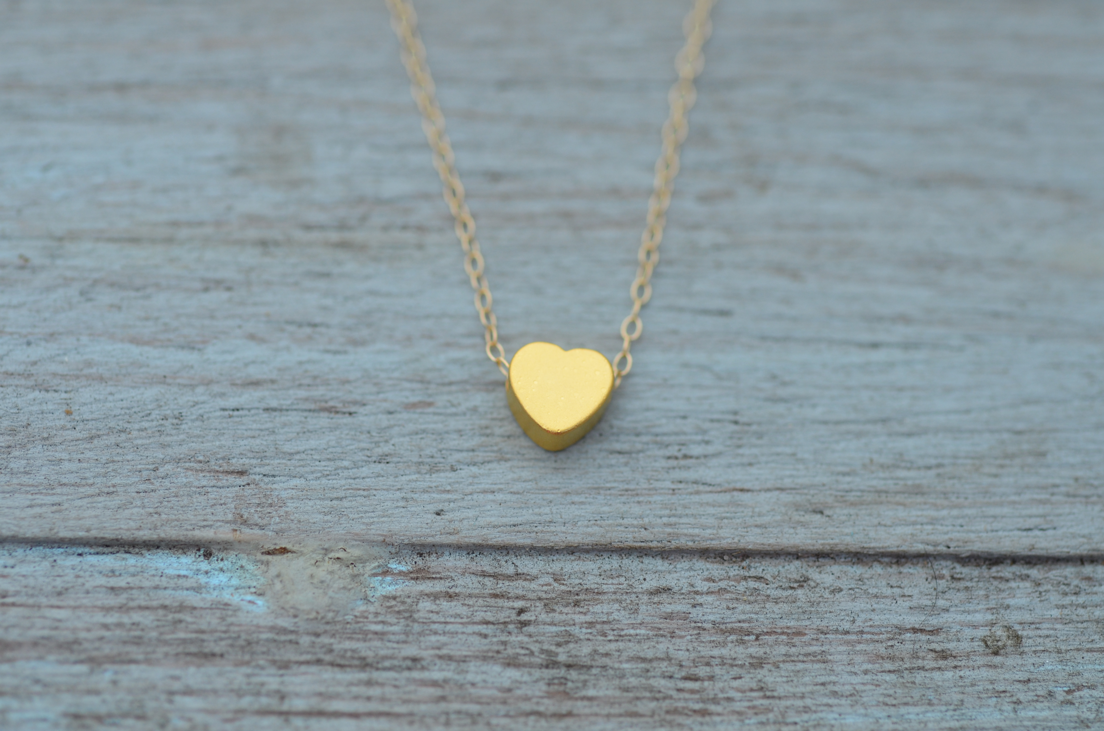 Heart Matte Gold on blue